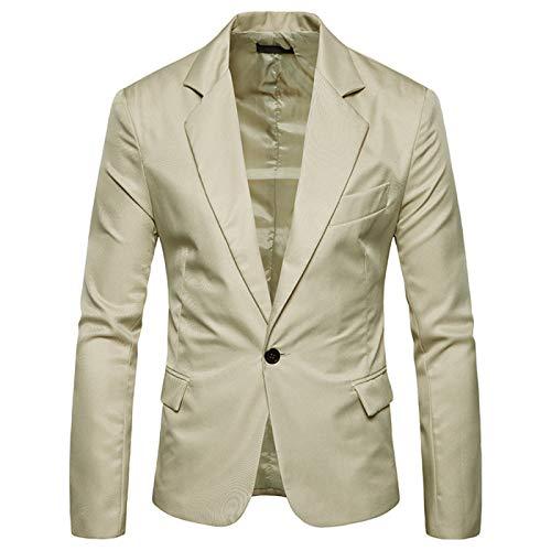 qishi Chaqueta de traje de hombre de color sólido delgado