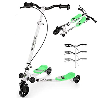 WOOKRAYS Y Fliker Wiggle Scooter 3 Wheel Swing Scooter Foldable Kick Speeder Kids Self Drifter for Boys and Girls Age 5 Years Old and Up (Green)
