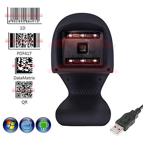 Ejoyduty 2D Desktop lijncodescanner, kabelgebonden barcodelezer, USB 1D QR, voor iOS Windows Mac systeem, voor winkel, supermarkt, magazijn, casseerapparaat, logistiek