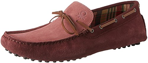 United Colors of Benetton Men's Maroon Leather Loafers and Moccasins - 7 UK/India (41 EU)