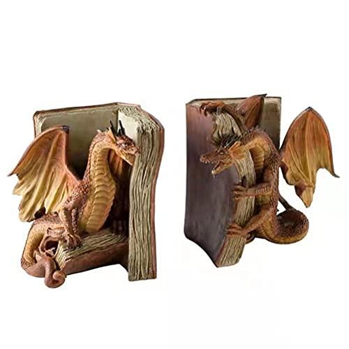 AYily Statua del Drago Divertente - Sculture Drago e Libro Decorazione Gotica per Il Desktop Statua - Statuetta Fantasy Scultura da Collezione per la Decorazione della libreria dell'ufficio Domestico
