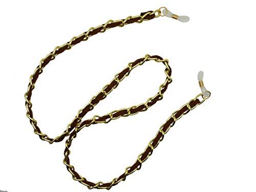 GoOpticians Schmuckkette Gold Glieder und Wildleder Brillenkette für alle Brillen, braun