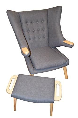 GoodView Design Sessel mit Armlehnen aus Webstoff in grau | Club-Sessel im Retro-Design | Gestell aus Esche-Holz | Moderner Wohnzimmer-Sessel | Relax-Sessel | mit Hocker | Ohrensessel