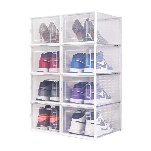 Meerveil Schuhkarton, Faltbare transparente Schuhaufbewahrung Box,35 * 25 * 18,7 cm,8er-Set,bewegliche Aufbewahrungsbox, Schuhregal, einfach zu montieren, platzsparend
