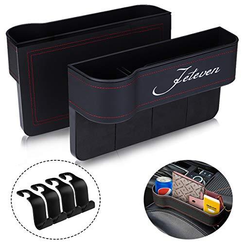 Jeteven Car Seat Filler, 2 Packs PU Leather Car Organizer, Multifunctional Storage, Document Glove Coin Laptop Cellphone Wallet Cup Cards Holder, Console Side Pocket Caddy Bucket Basket (Black)