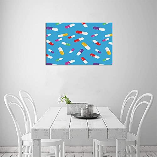 ZHOUHAOMAOYI Medicine Cápsulas Patrón Médico Abstracto Arte de Pared Lienzo Arte de Pared, para Sala de Sala de Oficina, Decoraciones de Salud 50 x 40 cm