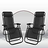 Reclining Zero Gravity Chair Heavy Duty Indoor Outdoor Sun Lounger Lightweight Foldable Relaxer Chairs With Headrest Comfortable Pillow For Home Garden, Patio, Poolside Use (2pc gravity chair, Black)