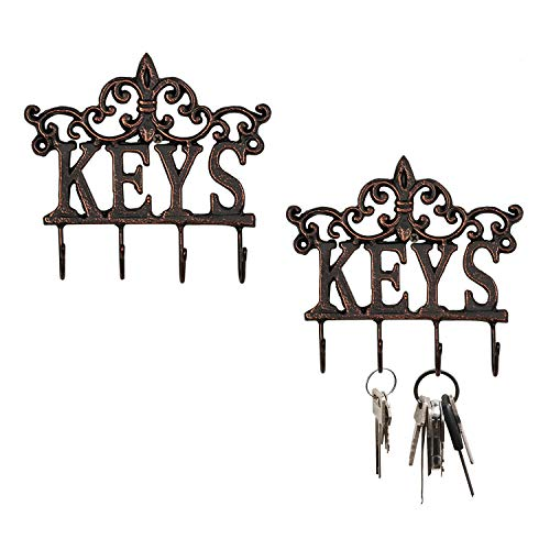 "Ticco 2 Pack Small Key Holder for Wall Organizer Decorative Wall Mounted Cast Iron Key Rack Vintage Key Hangers with 4 Hooks 7.5"" x 7""(Black & Copper)"