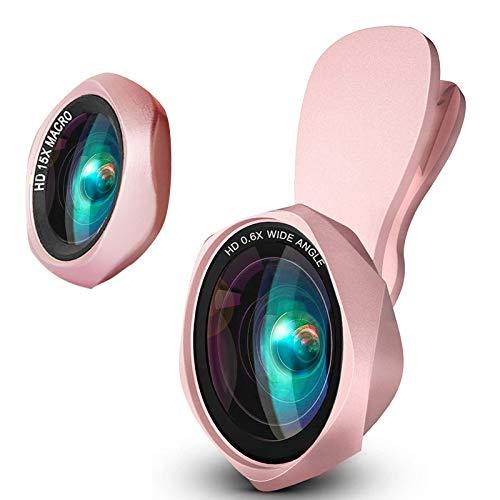 スマホ用カメラレンズ クリップ式レンズ0.6倍広角レンズ15xマクロレンズ 自撮りレンズ-Luxsure 2020 簡単装...
