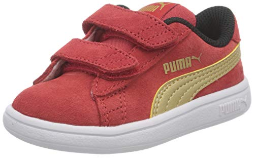 Puma Unisex Baby Smash V2 SD V INF Sneaker, High Risk Red Team Gold Black, 24 EU