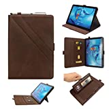 Lrker Double Prop Stand PU Leather Case for Huawei MediaPad M5 10.8/M5 Pro 10.8 inch 10.8', Cash Wallet Card Slot Pen Holder Auto Sleep/Wake Water-Safe Smart Full Cover Brown