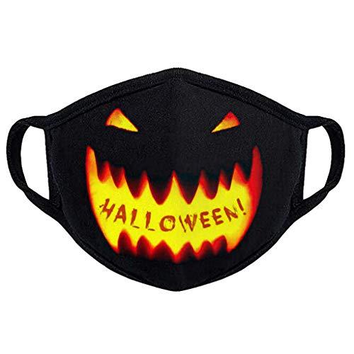 riou Halloween Herren Mundschutz mit Motiv Waschbar Wiederverwendbar Mund und Nasenschutz Halstuch