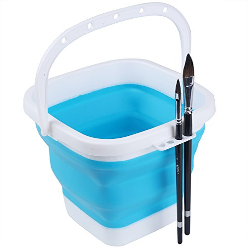 MEEDEN Foldable & Portable Multi-Purpose Bucket- Paint Brush Washer Large Paint Brush Cleaner with Handle - Collapsible Camping Fishing Bucket, Ideal for Kids Outdoor Playing & Fishing