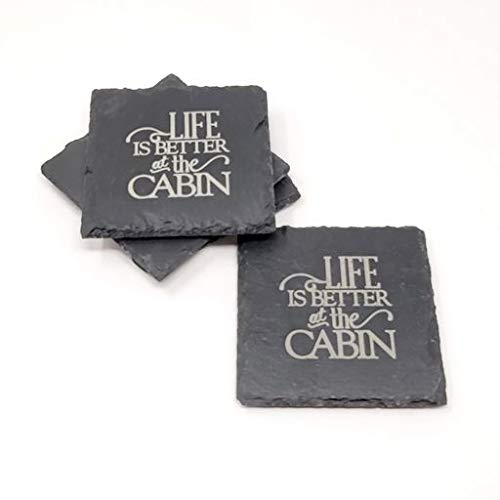 Life is Better at the low-pricing Cabin High order Slate Coasters Lake Deco House - Set