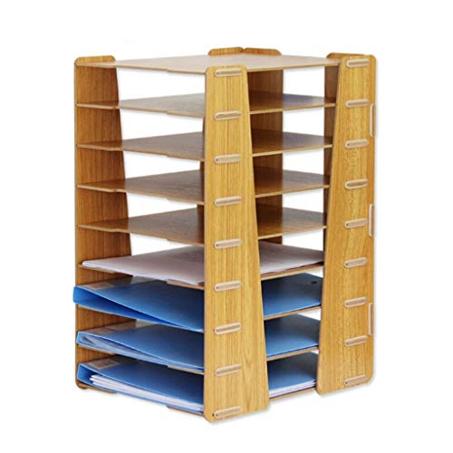 Schreibtisch Organisator/Ordner-Ablagesysteme Creative Desktop Mehrschichtiges stapelbares Aktenregal Platzsparendes Aktenregal Büromaterial Ablageboxen (Color : Brown)