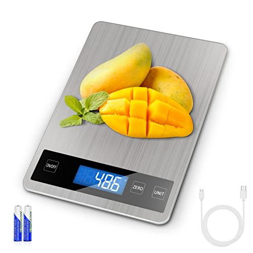 Bilancia Cucina Digitale, 15 kg 33 lbs, Precisione 1g REEXBON Bilancia Digitale da Cucina in Acciaio Inox con Funzione Tara, 5 Unita di Misura, Indicatore LED di caricare, Allarme Batteria Scarica