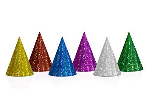 PartyDeco Partyhüte Hologramm Glitzer – Partyhütchen Kostüm Verkleidung Kopfschmuck – Mix, 20 Stück