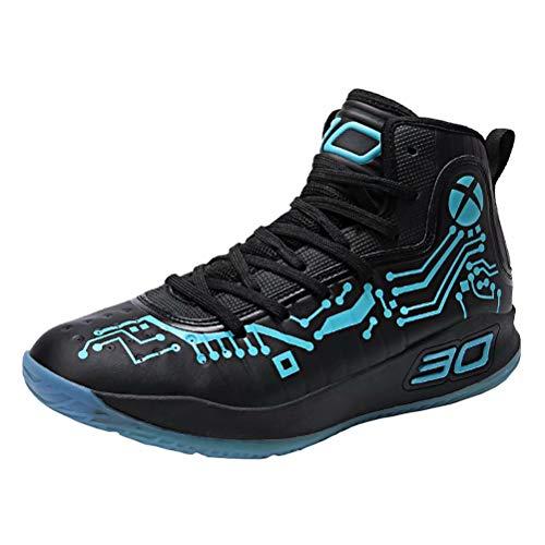 JIANYE Herren Basketball Schuhe High Top Sportschuhe Licht Anti-Rutsch Laufeschuhe Atmungsaktive Turnschuhe Verschleißfeste Schwarz 39