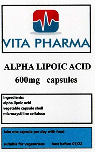 Alpha LIPOIC Acid 600mg 120 Tablets, by vita pharma, Vegetarian, Produced in The UK