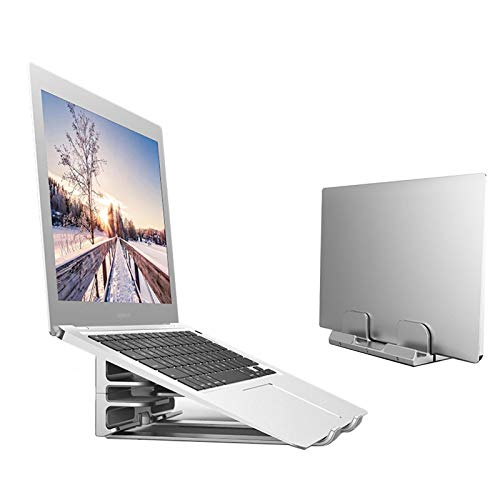 KELUNIS 2 in 1 Vertical Laptop Stand, Aluminum Adjustable Laptop Holder Storage Rackcompatible with All MacBook Pro/Air/Microsoft Surfac