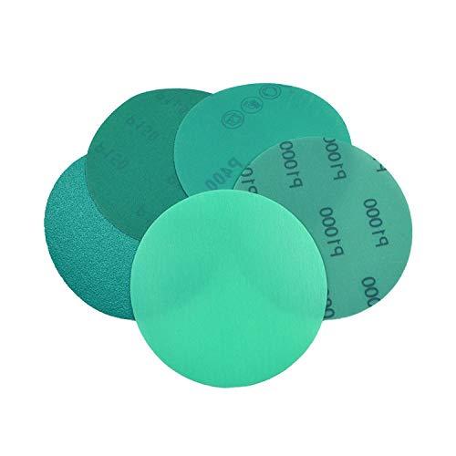GFHDGTH 5 STUKS 125mm Groene PET-film Schuurschijf, Korrel 60 tot 2000 Waterdicht Anti-Verstopping Schuurpapier Haak & amp;Loop Abrasive Tools, 2000