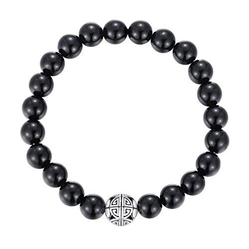 Natürliche 8 mm Edelsteine MetJakt Heilung Crystal Stretch Perlen Armband Armreif mit 925 Sterling Silber Double Happiness Anhänger (schwarzer Achat)