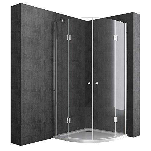 Eckdusche 90x90 cm, Klarglas, 6 mm ESG-Sicherheitsglas & Lotuseffekt, Viertelkreis-Dusche mit 2 Pendeltüren, Duschkabine R02k, Inkl. Duschtasse