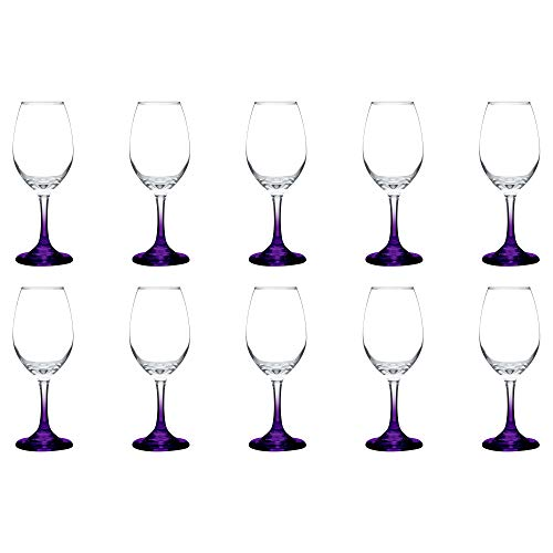 Rioja Colored Wine Glasses with Stem Set of 10-10 oz - Purple
