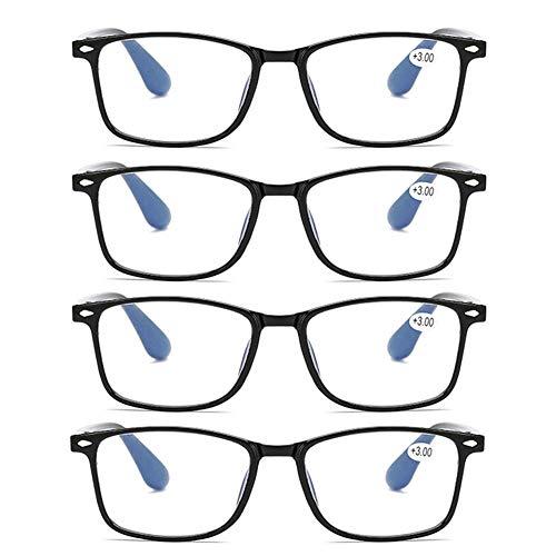 JTeam 4 Paar Computer Lesebrille Ultraleichte Und Flexible Distanzbrille TR90 Wiegt Nur 12g Unzerbrechlich UV-Schutzbrille Mann Frau (Color : Black, Size : 2.00X)