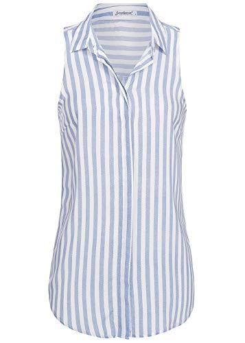 Seventyseven Lifestyle Damen Bluse verdeckte Knopfleiste Streifen Muster Top blau Weiss, Gr:M