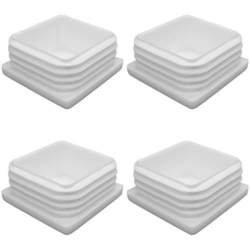 Enkotrade 4 Stück Lamellenstopfen Weiß für Vierkantrohre, 40x40 mm, Rohrabdeckung aus hochwertigem Polyethylen Kunststoff, Stopfen, Endstopfen, Kappen, Gleiter | Rohrstopfen Quadratisch