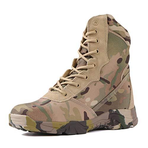 Wygwlg Botas de Combate Militares de Camuflaje con Cordones para Hombres Zapatos de Entrenamiento tácticos Impermeables Botines de acción Bota Desert Spec-Ops,Camo-43