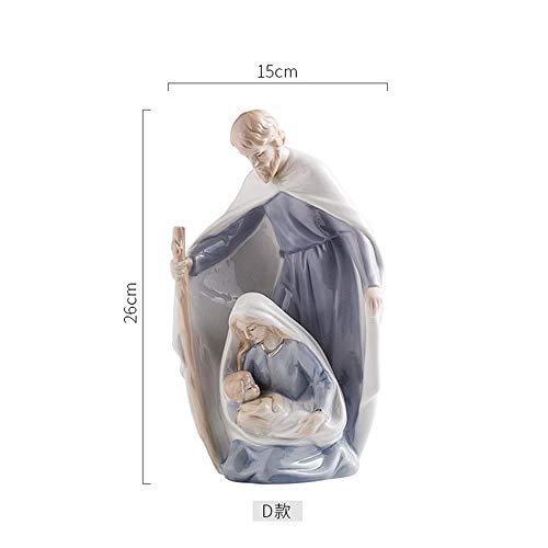 CIRCLEXP Adornos Decorativos Cerámica Creativa Cristiana Católica Iglesia De Jesús María Estatuas Familiares Suministros Religiosos Decoraciones Modernas para El Hogar
