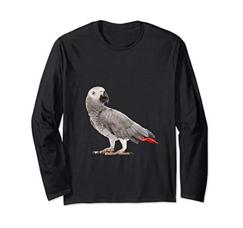 Graupapagei Papagei Sittich Vogel Damen Herren Langarmshirt