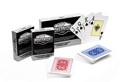 Poker Night Pro 2 Decks of Professional Waterproof 100% Plastic TEXAS HOLDEM Poker Playing Cards (1 x Red / 1 x Blue) | 54pcs Per Deck Including 2 Jokers | JUMBO Index | Super CASINO Quality