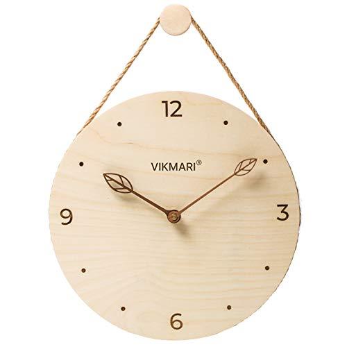 VIKMARI 北欧風 天然木 円形 壁掛け時計 木製文字盤 彫刻したインデックス アラビア数字 木製枝型指針 静音 連続秒針 非電波 ウォールクロック アナログ シンプル おしゃれ 直径30cm