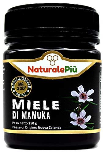 Miele di Manuka 200+ MGO 250 gr. Prodotto in Nuova Zelanda, Attivo e Grezzo, Puro e Naturale al 100%. Metilgliossale Testato da Laboratori Accreditati.