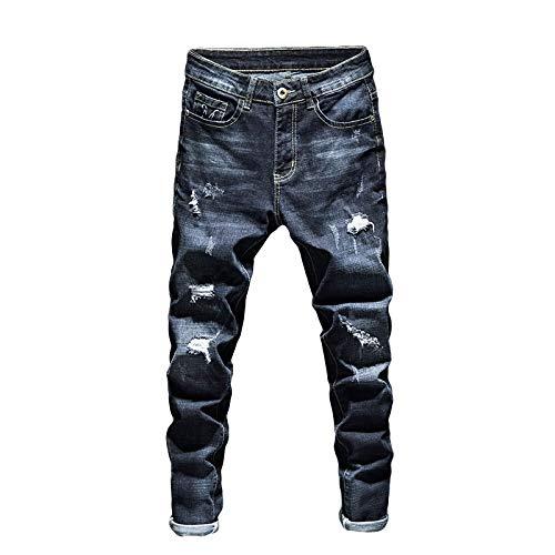 ShFhhwrl Vaqueros de Moda clásica Ripped Jeans Men Dark Blue Stretch Slim Fit Hollow out Streetwear Pantalones De Mezclilla De CU