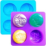Silicone Soap Molds, Sun & Moon Face Soap Molds for Soap Making, Bath Bomb Molds for Homemade Bath Bombs, Lotion Bar, DIY Resin Making, Wax, Polymer Clay (2 Pack)