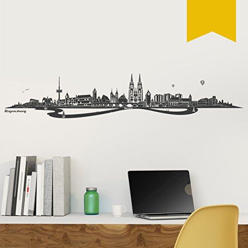 WANDKINGS Wandtattoo - Skyline Regensburg (mit Fluss) - 200 x 38 cm - Goldgelb - Wähle aus 6 Größen und 35 Farben