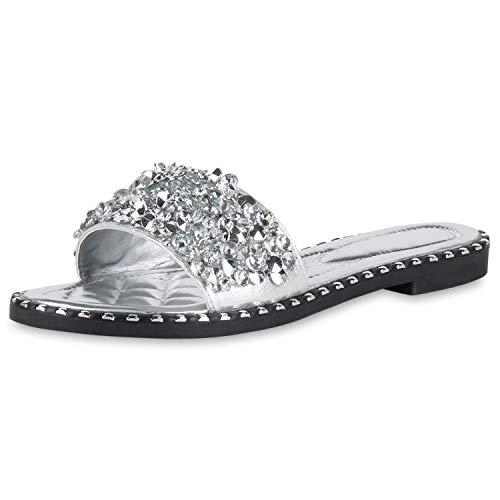 SCARPE VITA Damen Sandalen Pantoletten Cut-Outs Sommer Schuhe Bequeme Schlupfschuhe Flache Freizeitschuhe Sommersandalen 195962 Silber Strass 36