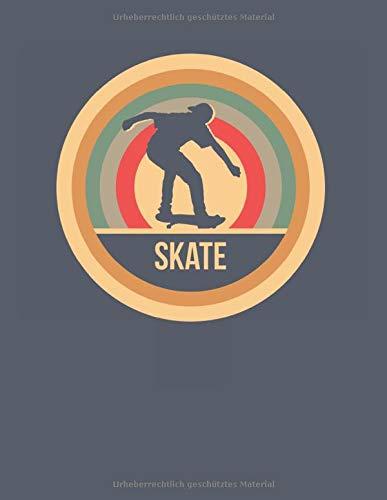 Skate: Retro Vintage Skateboard Notizbuch A4 Liniert 108 Seiten Notizheft - Geschenk für Skater & Skateboarder