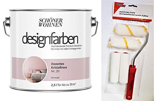 Schöner Wohnen designfarben feinmatte Wandfarbe für innen 2,5 Liter mit go/on Rollen-Set 5-tlg (Nr 20 Dezentes Kristallrosa)