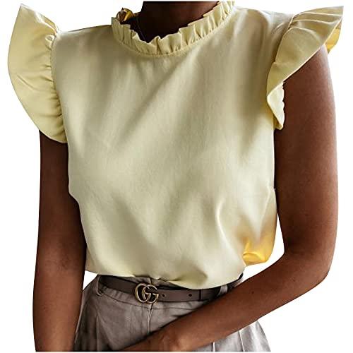 Camisas y blusas para mujer, para verano, sin mangas, con volantes, blusa tipo túnica, para oficina, talla Reino Unido