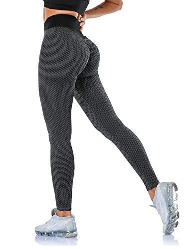 SHAPEVIVA Leggings Damen Push Up Leggings Booty Lifting Sport Leggings Tik Tok Leggings Hohe Taille Sexy Anti Cellulite Leggings Schwarz