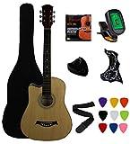 Vizcaya 38' Cutaway Natural Beginner Left-Handed Acoustic Guitar Starter Package Student Guitar with Gig Bag,Strap, Picks, Extra Strings, Electronic Tuner -Natural Cutaway Left-Handed