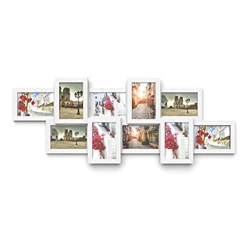 SONGMICS Bilderrahmen Collage, für 10 Fotos je 10 x 15 cm, Fotorahmen aus MDF-Platten, Montage erforderlich, weiß, mit Holzmaserung RPF21W