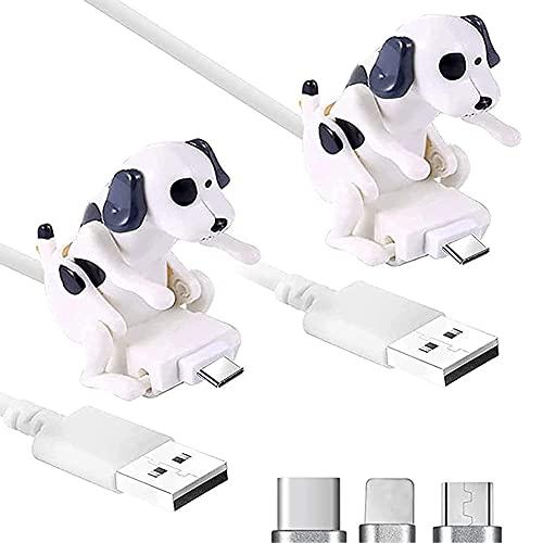 Crazyfly Funny Humping Dog Cable cargador rápido para perro, juguete para perro, cargador de cable USB, adecuado para varios modelos de teléfonos móviles tipo C portátil (tipo C, 2 unidades, blanco)