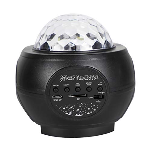 LEDナイトライトプロジェクター USB Bluetooth 音楽音声コントロール LED 星空プロジェクターライト 空フルスター 水炎プロジェクターライト クリスマスプロジェクターライト (ブラック)