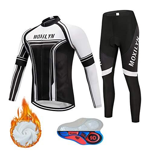 Moxilyn fietskleding, heren, winter, lange mouwen + broek voor fitness, kussens 9D gel, wielrennen, winddicht en warm